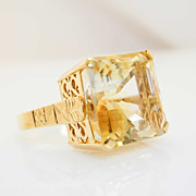 Vintage 18k Yellow Gold Citrine Solitaire Ring - Size 12