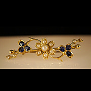 18k Yellow Gold Late Victorian Pearl and Sapphire Bar Pin
