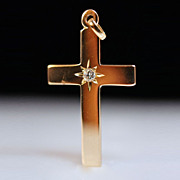 14K Yellow Gold Diamond Solitaire Cross