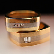 Mens 14k Yellow & White Gold Diamond Wedding Band Ring Set