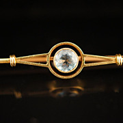 14k Yellow Gold Late Victorian Aquamarine Solitaire Bar Pin