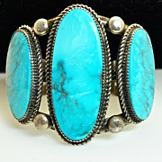 Vintage Turquoise and Sterling Silver Native American Bracelet
