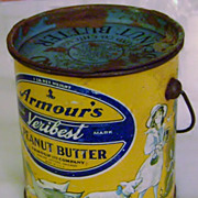 Vintage Armour's Toyland Peanut Butter Tin Pail Witch Children