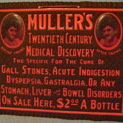 Vintage Celluloid Muller's Cure All Sign
