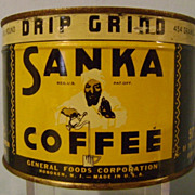 Vintage One Pound Full Unopened Sanka Coffee Tin