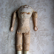 Very Early Cloth Doll Body w/Wood Carved Hands and Legs