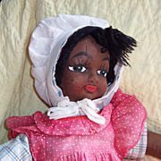 "Darling 22"" Vintage Black Cloth Doll in Adorable Outfit"