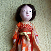 "Cute 13.5"" Oriental Doll in original outfit w/squeaker"