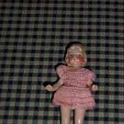"Adorable 4"" Doll House Doll in Crochet Dress"