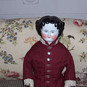 24&quot; Antique China Head Doll with Cloth Body & Limbs