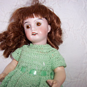 "8.5"" 1894 Bisque Head Doll in Green Crochet  Dress"