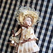 Sweet 6.5&quot; German Bisque Head Doll in Paper Mache Body