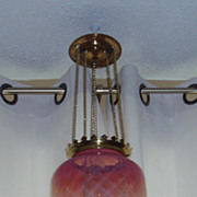 Antique pink to clear opalescent glass hanging oil kerosene hall lamp
