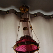 Antique 14&quot; oil kerosene ruby hobnail glass shade hanging lamp