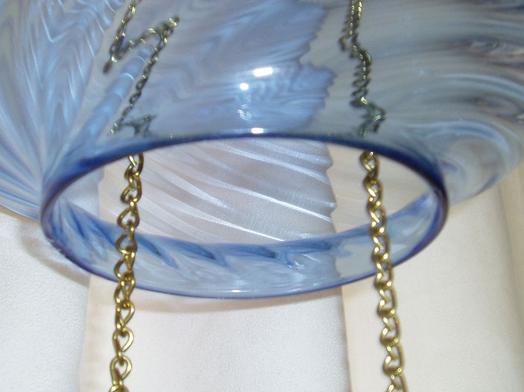 antique blue glass swirl hanging oil hall lamp from. Black Bedroom Furniture Sets. Home Design Ideas