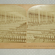 SALE Interior of the great spinning room Fall River, MA stereoscope picture