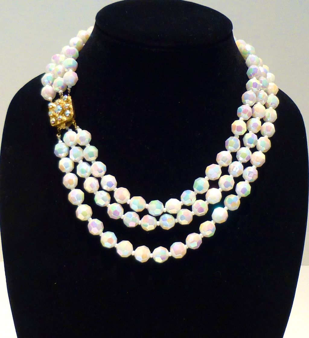 Gorgeous 3-Strand Aurora Borealis Necklace