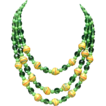 Rare 1950s Green Bead and Italian Murano Glass Three-Strand Necklace