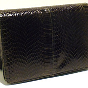 Forest Green Vintage Cobra Skin Clutch