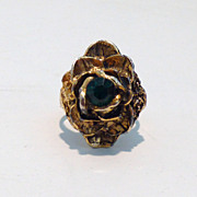 Antiqued-Style Unique Vintage Rose Cocktail Ring