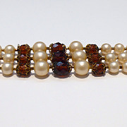 Three-Strand Faux Pearl Bracelet with Topaz Colored Beads