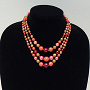 Three-Strand Mid Century Pink, Violet and Gold Tone Bead Necklace