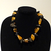 Stunning Tiger Eye and Obsidian Necklace!