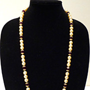 Faux Pearl Sautoir with Ruby-Colored Beads