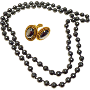 Yves Saint Laurent Hematite Earrings and Hematite Bead Necklace