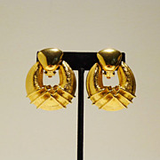 Beautiful 1980s Gold-Tone Door Knocker Earrings