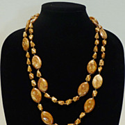 Miriam Haskell Glass Bead Necklace in Autumn Browns