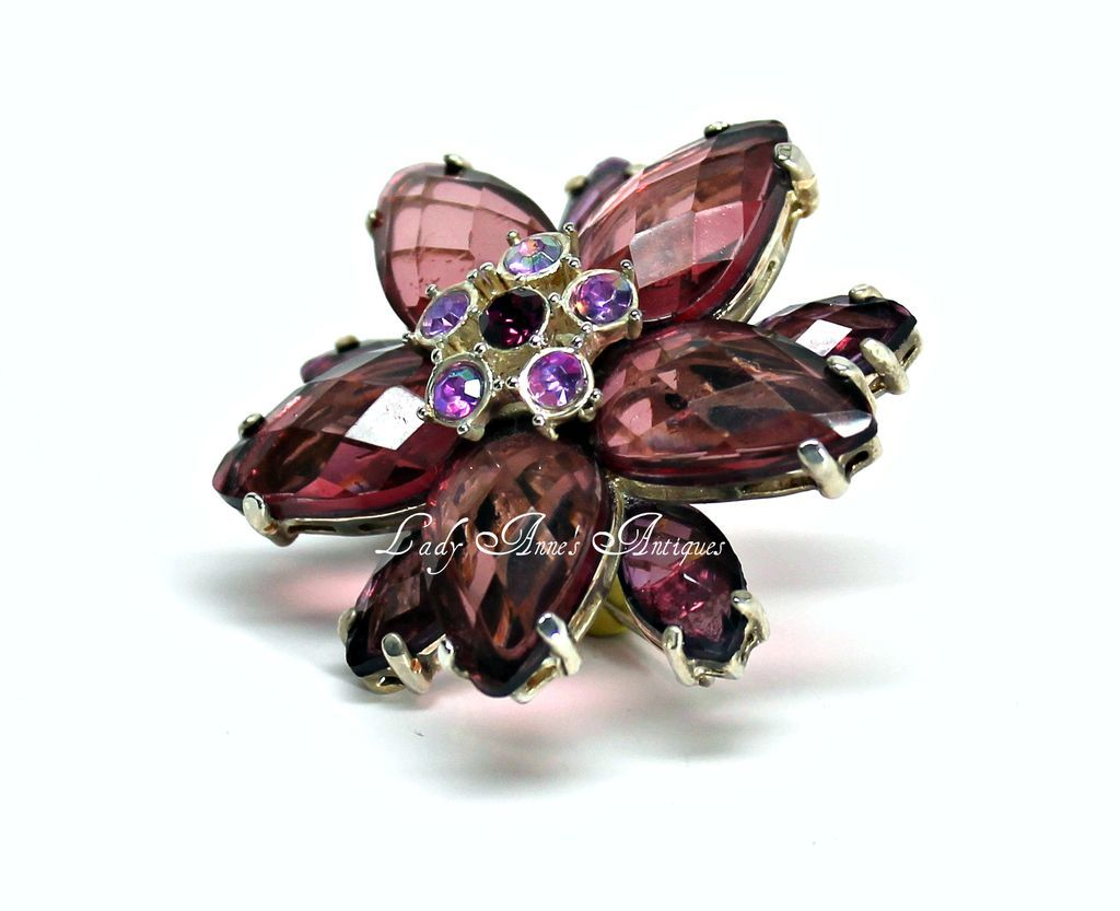 Vintage Large Floral Dimensional Purple & Aurora Borealis Rhinestone Brooch