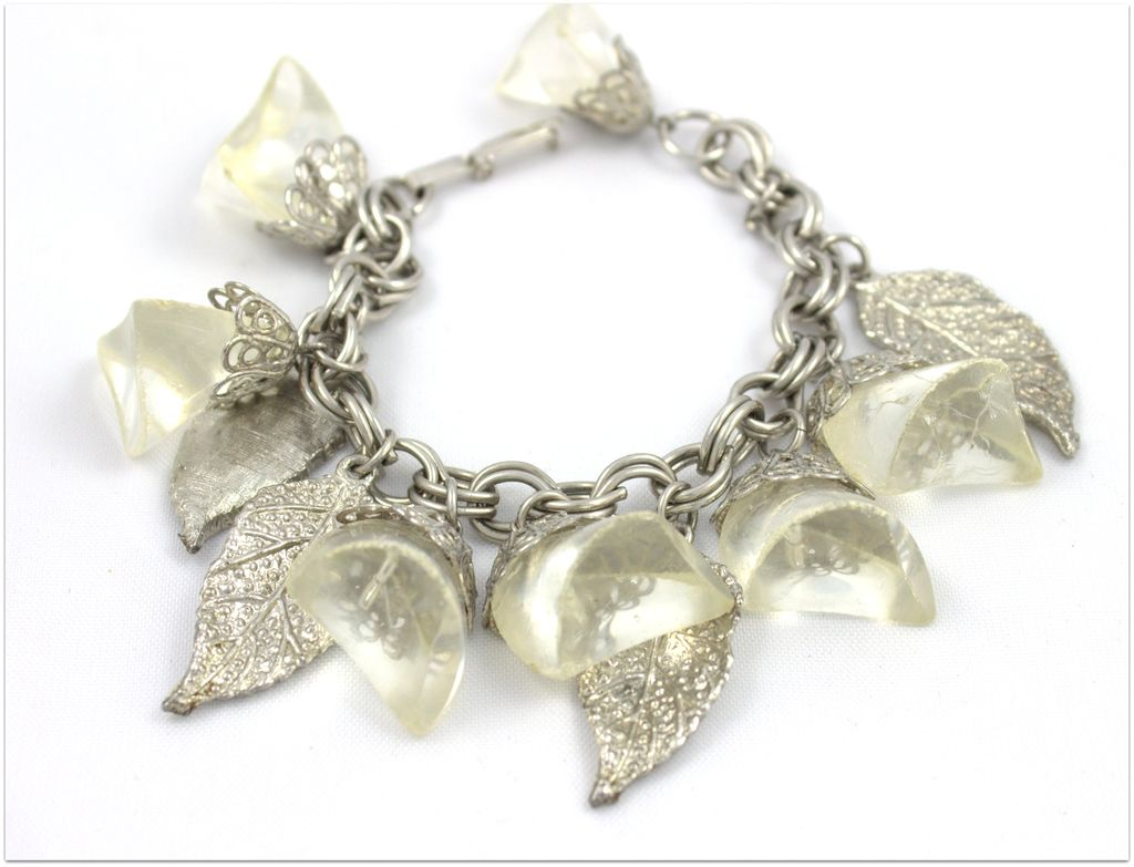 Vintage Clear  Lucite Charm Bracelet