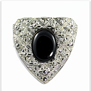 Vintage Marcasite Onyx Glass Stone Dress / Fur Clip