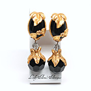 Vintage Black Glass Couture  Drop Earrings Signed  Kate Hines