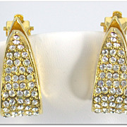 SALE Vintage Signed Park Lane Rhinestone Studded Earrings