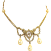 Anne Klein Gold Tone Rhinestone and Imitation Pearl Necklace