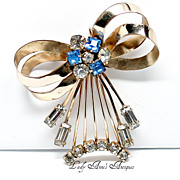 SALE Vintage Gold Filled Rhinestone Bow Pin Brooch