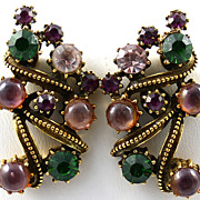 Vintage Signed Florenza Rhinestone Earrings