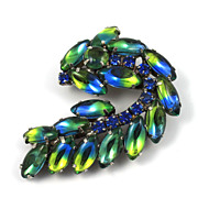 SALE Vintage Blue Rhinestone Art Glass Brooch Pin