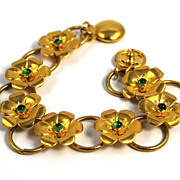 SOLD Adorable Gold Tone Green Colored Stones Snap Closure Bracelet