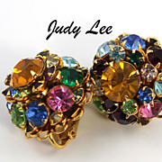 Gorgeous Vintage Judy Lee Rhinestone Earrings Clip Back