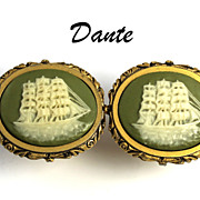 SALE Rare Vintage Dante Incolay Museum  Cufflinks Sailing Ship