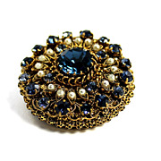 SALE Fancy Filigree Round Gold Tone Imitation Pearl Rhinestone Brooch Pin