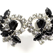 Vintage Jet Black Rhinestone Circle Earrings