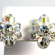 SALE Vintage Sherman  Aurora Borealis Crystal Clip Back Earrings