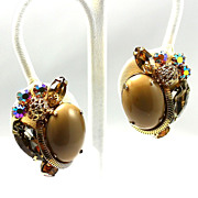 SALE Vintage Alice Caviness Rhinestone & Brown Cabochon Earrings