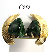 Vintage Retro Coro Modernist  Natural Jade Stone Earrings