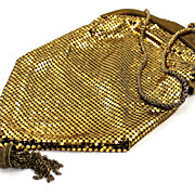 SALE Whiting & Davis Gold Mesh Evening Bag with Tassel