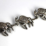 SALE Los Castillo  Taxco Sterling Rare  Three Donkeys Burros Pin Brooch